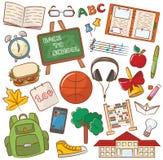 School & Onderwijspictogrammen Royalty-vrije Stock Afbeelding