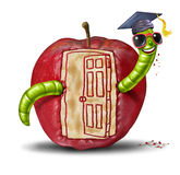 School Open Door. Concept as a fun worm emerging out of an apple that has been eaten to form the shape of an opened doorway entrance as a symbol of education Royalty Free Stock Photography