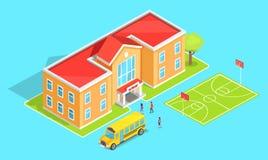 School Oranje Two-Storey School en Gele Bus Royalty-vrije Stock Foto's