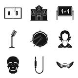 School orchestra icons set, simple style. School orchestra icons set. Simple set of 9 school orchestra vector icons for web isolated on white background Stock Photo