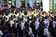 School orchestra. New Years day parade in London. Royalty Free Stock Photo