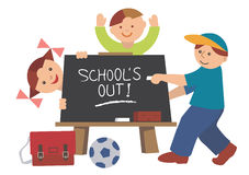 School_is_out. School blackboard with children -  illustration Stock Photos