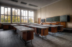 School is out. Abandoned school complex in Belgium where this classroom is still in a pretty good shape stock photos