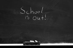 School is Out on Chalkboard Royalty Free Stock Photography