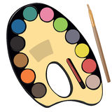 School paint kit for artist with paints, pencils Stock Photos