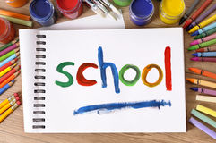School painted on sketch pad, art and craft equipment, back to school concept Royalty Free Stock Photos