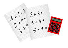 School paper with calculator Stock Photo