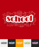 School paper sticker with hand drawn elements Stock Photography