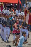 Celebration of 197 years of independence from guatemala. School parade toured the streets of San Lucas Toliman Solola Guatemala in sele rafion of the anniversary royalty free stock image