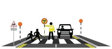 School patrolman. Children walking across a zebra crossing with school patrolman Vector Illustration