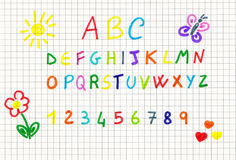 School pattern. A child draw with school elements and letters Royalty Free Illustration