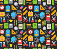 School pattern. Bright school and education seamless pattern. Books, stationery and science symbols Royalty Free Stock Image