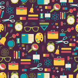 School pattern with colorful icons Royalty Free Stock Photo