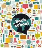 School pattern with colorful icons Stock Photos