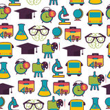 School pattern with colorful icons Stock Photography