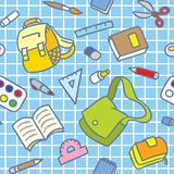 School pattern with education supplies Stock Photos