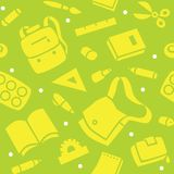 School pattern with education supplies Stock Photo