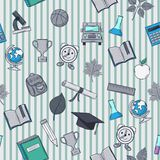 School pattern on striped background. Seamless School pattern on blue striped background Royalty Free Stock Photography
