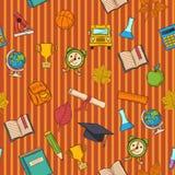 School pattern on striped orange  background. Vector seamless School pattern on striped orange  background Stock Photos