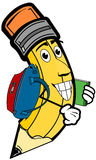 School Pencil. A cartoon pencil wearing a backpack for school Stock Image