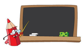 School pencil and blackboard Stock Photos