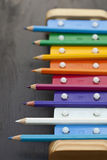 School pencils and bells Royalty Free Stock Images