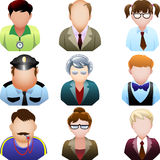 School people icon set. Collection of nine icons representing various school occupations Royalty Free Stock Images