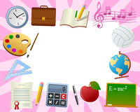 School Photo Frame [4]. Photo frame, post card or page for your scrapbook. Subject: school supplies on pink (girl) background. Eps file available royalty free illustration
