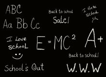 School phrases. Selection of Back to school chalkboard like phrases on black background Stock Photo