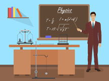 School Physics male teacher in audience class concept. Vector illustration. Royalty Free Stock Image