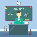 School physics teacher in audience. Vector flat Royalty Free Stock Images