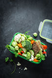School or picnic lunch box with sandwich and vegetables stock image