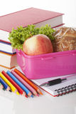 School pink lunch box Royalty Free Stock Image