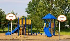 School Playground. Playground and basketball goals Stock Photo