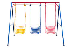 School playground swing isolated. stock images