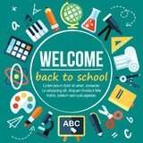 School poster. Colorful vector welcome back to school poster template. Flat style. With hand drawn elements and place for your text Stock Photos