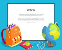 Back to School Poster with Geographical Globe Book Royalty Free Stock Image