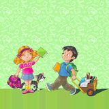 School poster. Poster with schoolboy and schoolgirl (first-grader), and place for you text Royalty Free Stock Photography