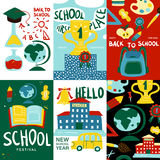 School Posters Banner Set. With hello new school year first place and school festival headlines vector illustration Royalty Free Stock Image