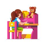 School girl studying sitting at pink child desk royalty free illustration