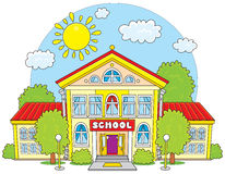 School. Primary school building surrounded by green trees Stock Image