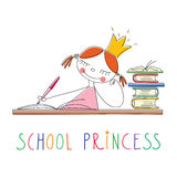 School princess. Doodle illustration of a funny little writing princess with school princess lettering on a white background. Vector artwork for a card or t Stock Images