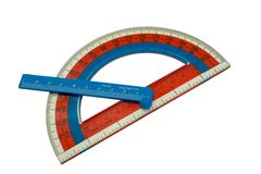 School protractor. With ruler; Isolated, Path included Stock Photo