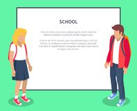 School Pupils Cartoon Characters Place for Text. School pupils cartoon characters with place for text. Children from secondary school with backpacks, vector Stock Images