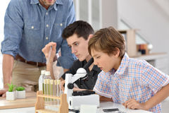 School pupils at chemistry class Stock Photo
