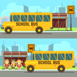 School pupils waiting for schoolbus Royalty Free Stock Photography