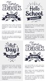 School Related Set of Black and White Stickers. Hello first day back to school related set of black-and-white stickers with inscriptions. Vector illustration of Royalty Free Stock Photography