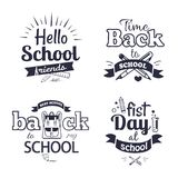 School-Related Set of Black-and-White Stickers. Hello first day back to school related set of black-and-white stickers with inscriptions. Isolated vector Stock Photo