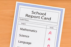 School Report Card Stock Photo