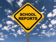 School reports. An yellow traffic sign with the text 'school reports' against the blue skies Stock Images